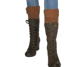 Crochet Russet Brown Boot Cuffs With Brown Leather Buttons, Light Rust Brown Leg Warmers, Hipster Boot Toppers For Skinny Jeans And Tights