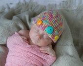 Button Cloche Baby Hat, Knit Beanie in Pink Aqua Orange Yellow, Pastel Knit Baby Hat Newborn Cloche Hat, Newborn to 3 Month Size (Item 892)