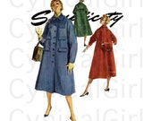1950s Coat Pattern Simplicity 1275 Bust 34 Womens Vintage Sewing Pattern Single Breasted Push Up Kimono Sleeve Flared Coat