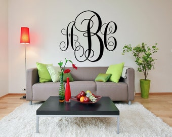 """FREE SHIPPING """"Monogram"""" Wall Decal Custom Size and Color 3 Letters"""