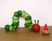 The Very Hungry Caterpillar with Watermelon - Clay Birthday Cake Topper