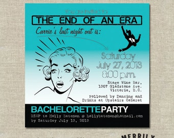 Bachelorette Party Invitations or Bridal Shower Invitations with a Retro Style, Vintage Bridal Shower Invitations, Stag Party Invitations