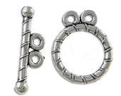 SALE Clasps : 10 Sets Antique Silver Round Toggle Clasps , Double Strand .... Lead, Nickel & Cadmium Free Jewelry Findings  181787.J4E