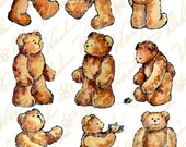 Brown Teddy Bears - Digital Collage Sheet - Clip Art - Instant Download - Printable Files - JPG & PDF Formats - Perfect for Crafting