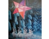 Ballet Dancer Art, Starlight, One of a Kind Retro Vintage Paper Art, Ice Blue and Purple Colorful Collage on Paper