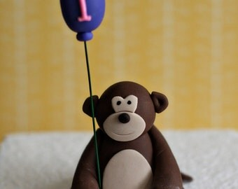 Fondant Monkey with a Balloon Perfect for a Smash Cake, Cupcake or a Birthday Cake