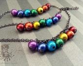 SALE - LGBTQ Aspie Autism Chakra Bracelet - Spectrum Colors - Gay Pride Aspergers - Bold Chunky Style - Rainbow Bubbles