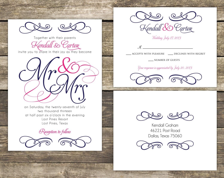 Mr And Mrs Wedding Invitation Wording: PRINTABLE Wedding Invitation Suite DIY Mr And Mrs Blue And