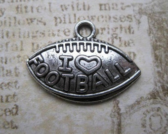 10 I Love Football Charms in Silver Tone -  C1613
