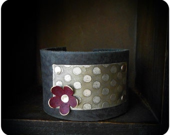 Mixed Metal Etched Polk Dot Leather Cuff Bracelet
