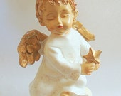 Vintage Angel Figurine Hand Painted Resin  Looks like Wood Ornament Home Decor Christmas