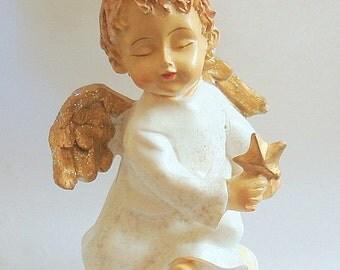 Angel Figurine Detailed Hand Painted Vintage Resin Looks like Wood Ornament  Home Decor Religious Christmas
