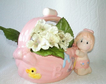 Baby Girl Planter Vase Vintage Pink Ceramic, the Word Baby & an Infant Girl Figure on Side Attached Handle