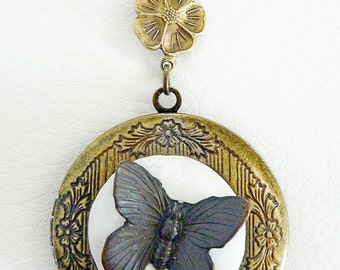 Vintage Locket with a Butterfly set in Sculpted clay on an Antiqued Brass locket - Perfect for keepsakes
