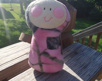 Large Plush Doll Rattle, Squeaker or crinkle Toy Pink Camo or Green Camo