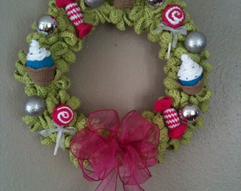 INSTANT DOWNLOAD Christmas Wreath Cupcakes, Candies and Lollipops - Crochet Pattern