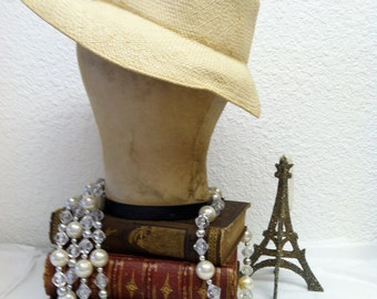 Vintage 1940s Panama Hat forties Woven Straw