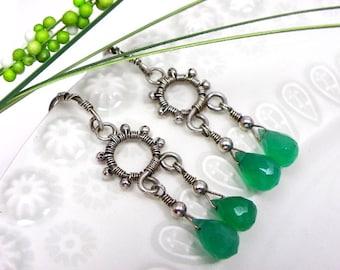 Wire wrapped handmade sterling silver earrings green onyx women jewelry