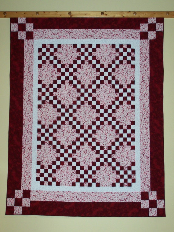 """CLEARANCE Double Irish Chain in Red Pink White Twin Full Bed Quilt 72"""" x 90"""" Busy Hands Quilts"""