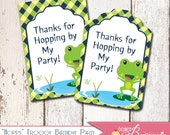 Custom Hoppy Froggy Theme - Gift Tags / Favor Tags - Boys Birthday Parties - DIY Printable Decorations - Party Favors - Frog Thank You
