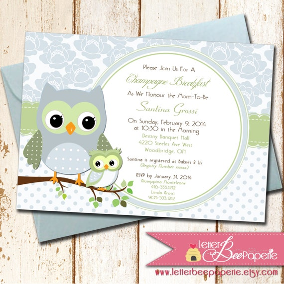owl theme baby shower invitation choose colors for boy girl or