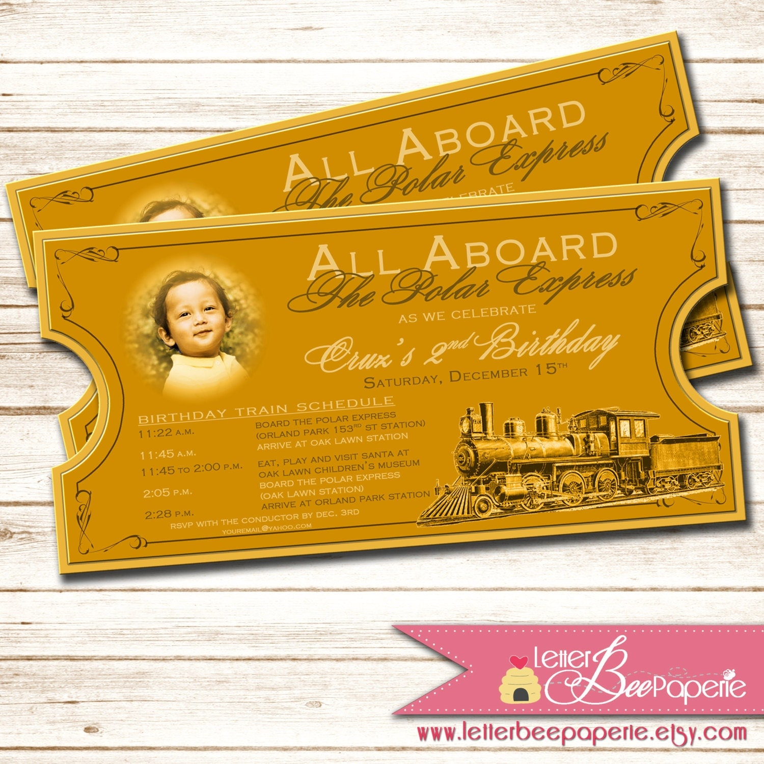 Polar Express-Inspired Birthday Party Ticket by LetterBeePaperie
