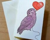 Owl Heart Balloon 4 x 6 Notecard