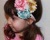 SALE Turquoise Blue Pink and Yellow Stripe Boutique Triple Chiffon Flower Rosettes on Glitter Sparkly Headband - Many Sizes Available