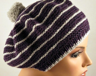 Beret / Slouchy Hat Hand Knitted Wool Purple Grey Stripes Pom-Pom