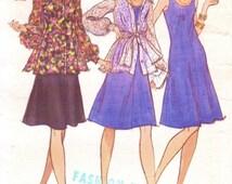 70s Vogue Sewing Pattern 8923 Womens Scooped Neckline Boho Dress, Jacket & Scarf Size 12 Bust 34 UnCut Vintage Vogue Patterns