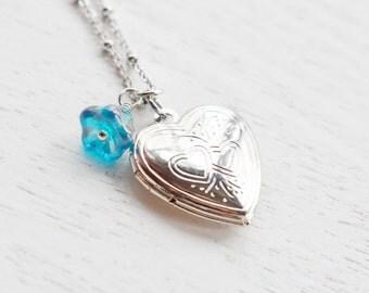 Heart Locket Necklace,Bridesmaid Gift,Silver Locket Necklace,Something Blue,Heart Locket Jewelry,Keepsake,Anniversary Gift ,Romantic Gift