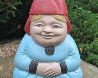 """Gnome: """"Gnorma"""", Painted Garden Gnome Cement Statue, Gnome Concrete Figure"""