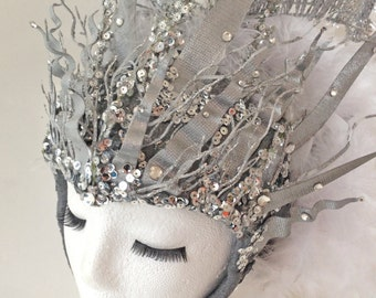 Goddess of AIR - Gemini Headpiece - silver and white - Cosplay, Fantasy