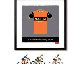 Tour de France Art, Eddy Merckx, Molteni Team Jersey
