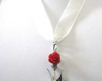 Enameled Heart Bird Ribbon Necklace Tattoo Dark Red Rose