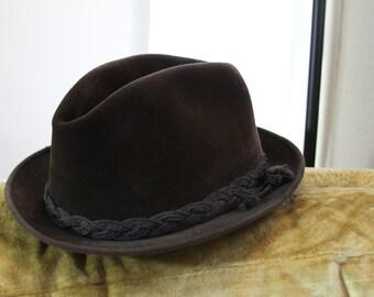 1950s brown unisex velvet fedora