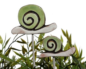 Snail garden art - plant stake - garden decor - snail ornament  - ceramic snail - small - green