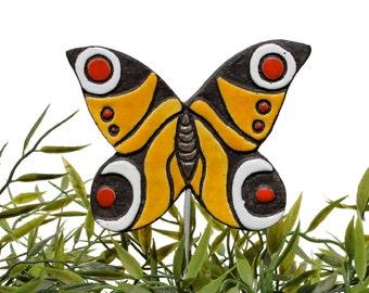 butterfly garden art - plant stake - garden decor - butterfly ornament  - ceramic butterfly - peacock - red - yellow