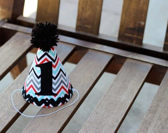 First Birthday HAT ONLY Chevron Gray Red Black Turquoise Print 1st Birthday Outfit Toddler Baby Boy or Girl