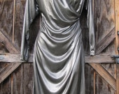 Sexy Vintage 80s Metallic Pewter Liquid Metal Silver Lame Longsleeve Faux Wrap Disco Dress with Shoulder Pads