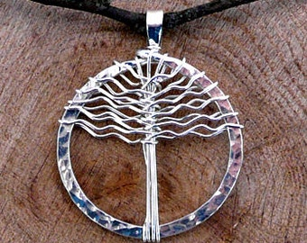 Tree of Life Pendant Argentium Sterling Silver Necklace Circle