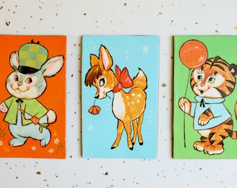 Vintage 1960's Deer Bunny Tiger Illustrated Magnet Set