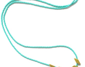 The Helsinki Series in Turquoise- Modern Geometric Necklace
