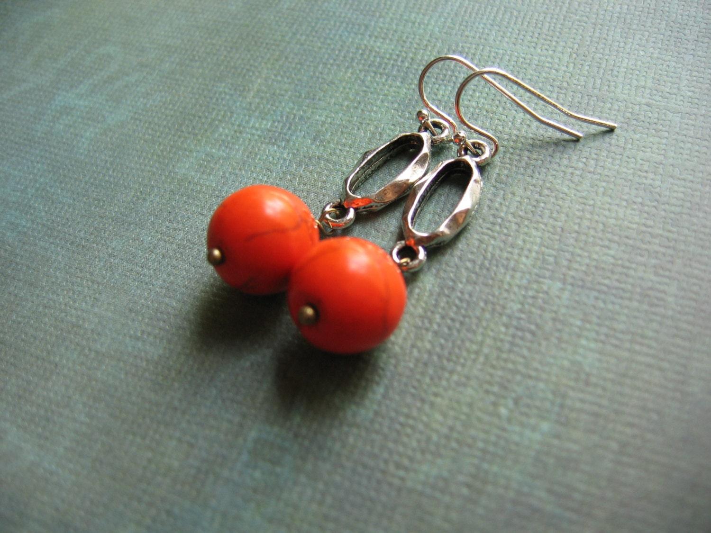 orange earrings gemstone jewelry orange turquoise gemstone