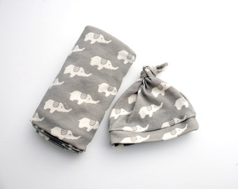 Baby Blanket and Hat - Organic Baby Swaddler Blanket and Matching Hat in Elephant Print You Choose Colors - Gift For Baby- Swaddler Blanket