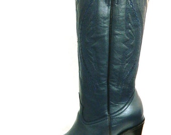 """Hidden 1"""" platform 16 inche tall embroidered shaft boots with 5 heel men sizes"""