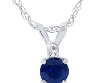 Diamond & Blue Sapphire Round Solitaire Pendant 14K White Gold