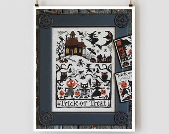 Trick or Treat Book No. 188 optional threads needles : Prairie Schooler counted cross stitch patterns Halloween October Autumn