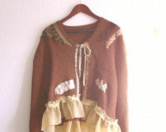 Romantic Bohemian Bolero Autumn Colors Eco UpCycled Wearable Art
