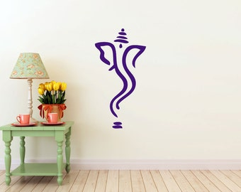 Abstract Ganesh vinyl Wall DECAL- Hindi Hindu India interior design, sticker art, room, home and business decor